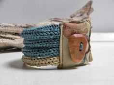 Cotton yarn bracelet QUATTRO - deep water green and sand