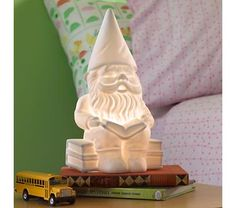 I want one of these lights in every room. books and gnomes = awesome.