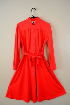 IDDDDVinte Retro Bright Red Long Sleeve Dress // by TeaTreeVintage, $32.00