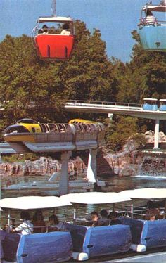 Disneyland transportation of the future: Skyway, Alweg Monorail & The People Mover. http://www.disneylandpostcards.com/tlmulti1.jpg