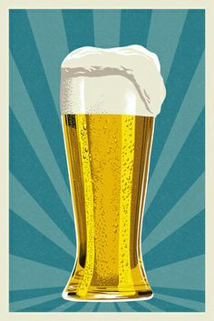 Pilsner Glass - Letterpress - Lantern Press Poster