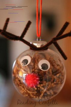 Cute and easy reindeer ornaments for kids to make this Christmas. Cute and easy reindeer ornaments for kids to make this Christmas. Reindeer Craft, Reindeer Ornaments, Snowman Crafts, Diy Christmas Ornaments, Christmas Bulbs, Christmas Decorations, Ornament Crafts, Christmas Activities For Toddlers, Christmas Crafts For Kids