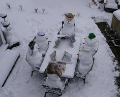 Snow people looking over their menus. Snow people have to eat too! #Snowman #CoopSports