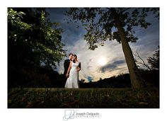 Gorgeous creative wedding portrait with dramatic light.  Here I wanted something different, so using a high powered strobe we turned daytime into nighttime.  This is a hudson valley wedding.