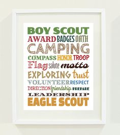 Boy Scout Eagle Scout Typography Poster Print For by honeypixels, $12.50
