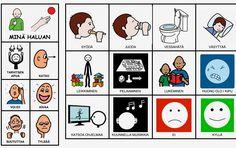 Lapsi voi kommunikoida taulun avulla perustarpeistaan kotona ja muuallakin. Aspergers, Speech Therapy, Mathematics, Teaching, Education, Comics, Cards, Peda, Speech Pathology