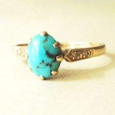 Vintage Turquoise Oval Cabochon and Diamond 9 Carat Gold Ring,  Approx. Size US 7.25