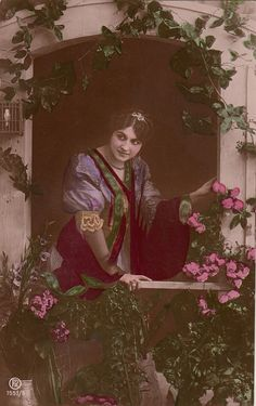 Vintage French Romantic woman Postcard . by ParisBookandPaper