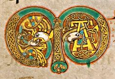 Book/Manuscript: Book of Kells VII Century, Ireland / Scotland Page (Folio): initial letter M with animal heads Medieval Manuscript, Medieval Art, Renaissance Art, Book Of Kells, Illuminated Letters, Illuminated Manuscript, Celtic Images, Illumination Art, Celtic Tree Of Life