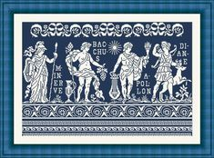 Greek gods and goddesses - the scheme for cross stitch - Antique scheme Cross Stitch Tree, Cross Stitch Charts, Cross Stitch Embroidery, Embroidery Patterns, Cross Stitch Patterns, Roman Gods, Greek Gods And Goddesses, Cross Art, Crochet Curtains