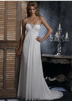 Wholesale Cheap Absorbing Halter Sheath / Column Beads Working Empire Wasit Chiffon Satin Chapel Train Bridal Gown