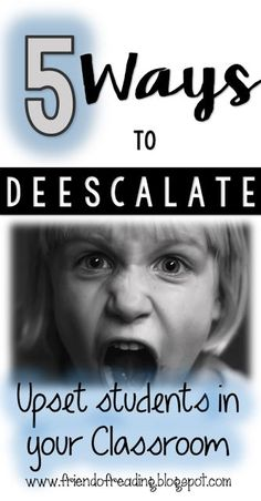 Learn 5 effective ways to deescalate negative behaviors in your classroom! Friends Of Reading It Management, Behaviour Management, Preschool Behavior Management, Ec 3, Student Behavior, Classroom Behaviour, Classroom Expectations, Behavior Plans, Behavior Charts