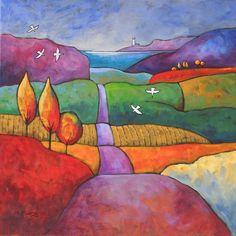 The Coast Road: Gillian Mowbray, Welsh artist Landscape Quilts, Landscape Art, Landscape Paintings, Art Populaire, Guache, Naive Art, Whimsical Art, Art Plastique, Silk Painting