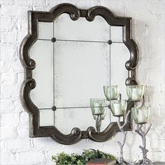 Buying Highlights:      Distressed silver leaf frame   Etched antiq...