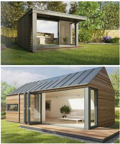 Shed Design, Tiny House Design, Modern House Design, Chalet Design, Backyard Office, Backyard Studio, Building A Container Home, Container House Design, Shed Homes