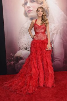 Blake Lively in a Monique Lhuillier red dress at the Age of Adaline premiere