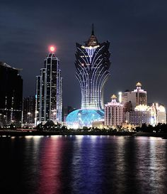The glittering skyline of modern Macau.    Photographer: Jason Michael Lang  Published: January 2010