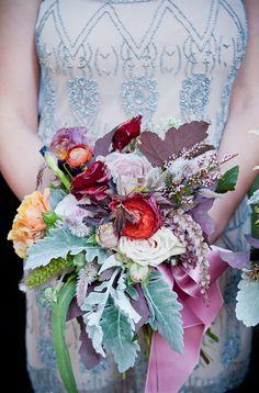 #Ramo rústico de colorines / Red Rustic #Bouquet With Dusty Miller