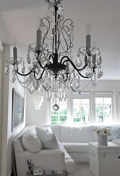 Chandeliers at Beach House. I do love an antique chandelier. Chandelier Bougie, Chandelier Lamp, Antique Chandelier, Black Chandelier, Living Spaces, Living Room, White Rooms, Home Lighting, Beach House