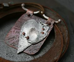 """""""Bound by Love"""" metal collage necklace Chris Magisano metal smith artist"""