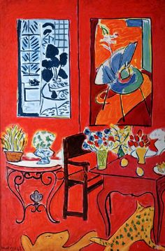Grand interieur rouge, France, 1948, by Henri Matisse. I love the cat jumping about in the lower right corner.