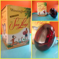 VTG 1960s Retro Groovy Westinghouse RS Sunlamp Tan Tanning Heat Red Bulb &…