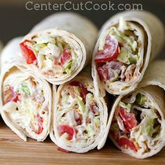 """BLT wraps. Make sure you put in mayo! Great for those nights when you need to """"grab 'n' go""""."""