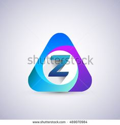 Z letter colorful logo in the triangle shape, font icon, Vector design template…