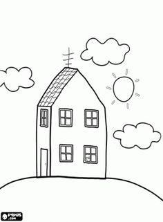 desenho de Casa da família da Peppa Pig, a Porquinha Peppa para colorir