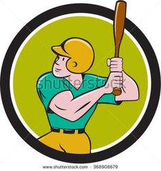 Illustration of an american baseball player batter hitter with bat batting set inside circle done in cartoon style isolated on background. - stock vector
