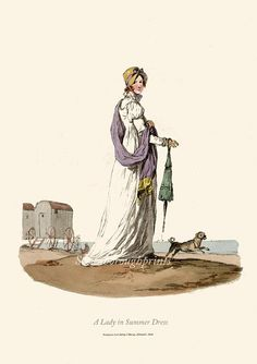 A Lady in Summer Dress. Regency Dress Print - English seaside - Beach - Bathing huts - Pug dog - Jane Austen - Summer dress