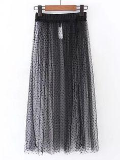 Falda de lunares de malla con cintura elástica-Spanish SheIn(Sheinside)