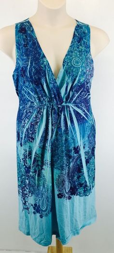 Womens Dress Size XL Blue Sleeveless Sublimation Sundress Appropriate Behavior #AppropriateBehavior #EmpireWaist #Casual