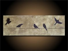 Birds on a Wire- 12x36 Beautiful Contemporary Textured Painting on Etsy, $203.25 AUD