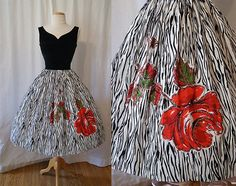 1950's Glitter Red Rose Dress - Perfect for the Kentucky Derby!