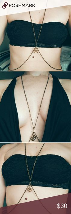 Pentagram Body Chain Harness Brushed brass body chain with pentagram detail. Looks r Great alone, with swimsuits, bikinis and plunging necklines. Size could fit, small, medium and large. House of Harness  Jewelry Necklaces