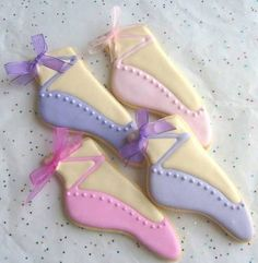 Ballet Slipper Cookie~ Favors - Ballet Decorated Cookies - Ballerina Cookies - 1 Dozen, By Loris Place on Etsy, Pink, purple Fancy Cookies, Iced Cookies, Cute Cookies, Brownie Cookies, Royal Icing Cookies, Cupcake Cookies, Sugar Cookies, Ballerina Cookies, Ballerina Slippers