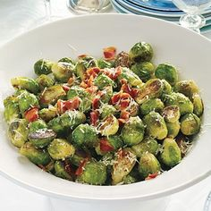 Brussels Sprouts with Pancetta | Pancetta and Parmesan cheese add salty flavor to roasted Brussels sprouts. You can substitute bacon for the pancetta. #Thanksgiving
