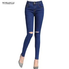 16.26$  Buy here - http://alin2v.shopchina.info/go.php?t=32795519848 - 2017 New Mens Ripped Jeans Trousers With Knee Holes Fashion Skinny Distreesed Denim Pants Strentch Pencil Joggers E0082  #shopstyle