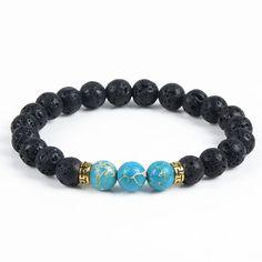 New Products Wholesale Natural Stone Bracelet & Bangle With Lava Rock Bracelet Of Stretch Buddha & Yoga Bracelet Women Men