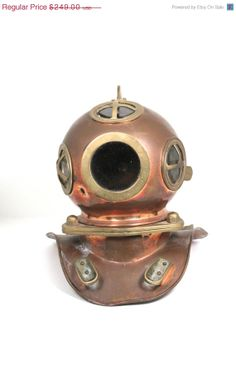 SALE Nautical Diving Helmet Small Deep Sea by WarrenExchange, $199.20