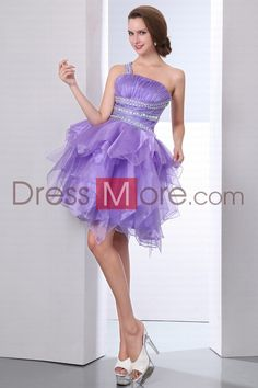 Silhouette: Ball Gown  Hemline-train:Knee-length  Fabric: Organza , Satin  Embellishment: Ruched  Color:Lilac(color may vary by monitor)  Waist: Natural  Style: Classic , Elegant , Luxurious , Modern , Timeless  Back details: Backless