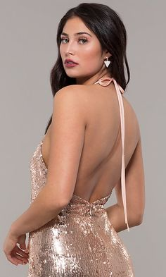 Shop long rose gold sequin prom dresses at PromGirl. Halter prom dresses, v-neck formal dresses in rose gold, and long gold sequin dresses with open backs, ruching, and side slits. Sequin Formal Dress, Sequin Prom Dresses, Gold Sequin Dress, Plus Size Prom Dresses, Homecoming Dresses, Formal Dresses, Prom Girl, Short Prom, V Neck Dress