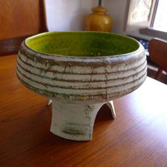 """Mid Century Modern Ikebana Pottery Vase California planter.  Made by Maurice of California.  Measures 5.75"""" tall and 8"""" wide"""