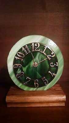 Beautiful Green on Green Stained Glass Clock -