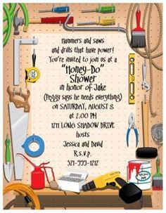 Tool shower invitations menu paper tool shower invitation these