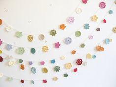 Wedding garland floral bridal shower bunting crochet by emmalamb, £38.00