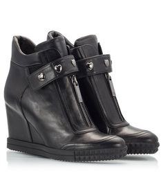 5e1cd04fb59e Ross Shoes by Rossella Cerutti Black very soft nappa leather ankle boot  sneaker wedges with front zipper, metallic heart studded leather strap over  instep