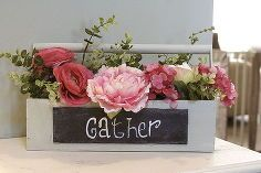 vintage inspired shabby chic tool box with florals and chalkboard, chalkboard paint, crafts, gardening, repurposing upcycling, shabby chic