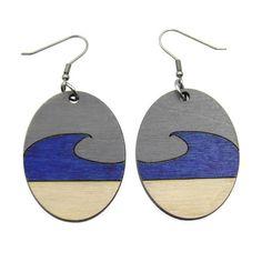 Beach Blue Wave Wooden Dangle Earrings for Women, Gray, Blue, Natural - Laser Cut - Lightweight, Gift-Wrapped Laser Cut Jewelry, Diy Jewelry, Jewelry Design, Jewelry Ideas, Jewelery, Wooden Earrings, Women's Earrings, Earrings Handmade, Terracotta Jewellery Designs